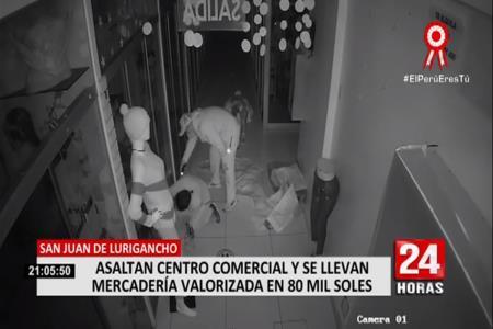 Av. Las Flores: Delincuentes roban 80 mil soles en mercadería de galería (Video)
