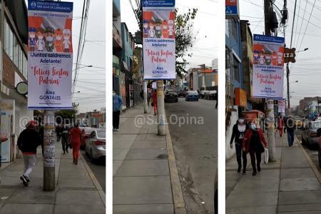 Avenida Chimú se inunda con publicidad de la municipalidad en plena pandemia