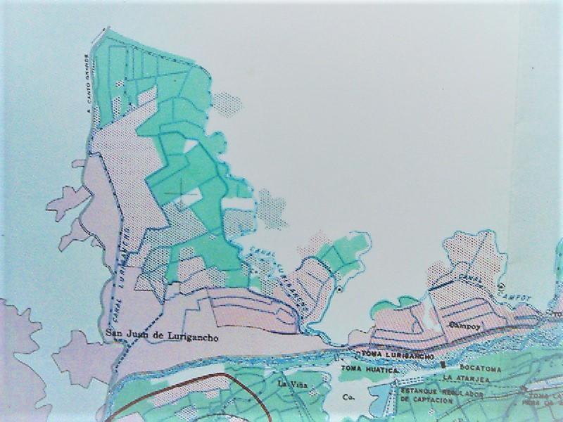 Sistema de canales de riego en el valle de Lurigancho