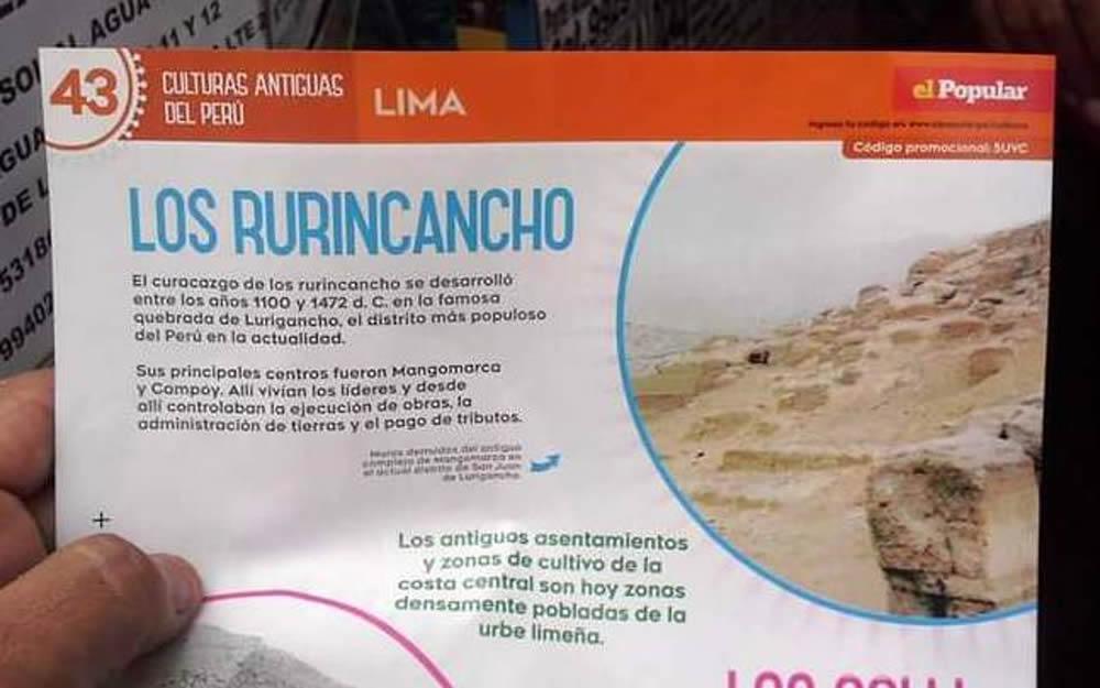Los Lurigancho, referencia a su existencia en el valle de Lima, publicado en el diario El Popular