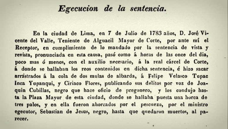 Texto de ejecución de sentencia contra Felipe Velazco y Ciriaco Flores (pedro de Angelis 1832:199)