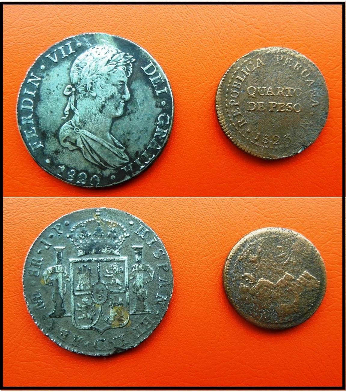 Las monedas son el símbolo de cambios en la estructura económica y social, acá se observa las última moneda acuñada, una durante la colonia y la nueva acuñada en el proceso de independencia (Colección IC-Ruricancho)